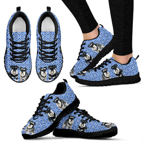Schnistergram Blue Geometric Pattern Sneakers