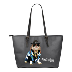"Small Leather Tote - Funny Dog ""On The Road"" Again"