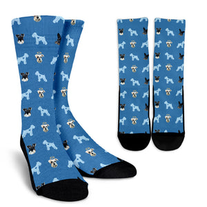 Custom Crew Socks - Pet Faces Pattern (Background color can be anything)