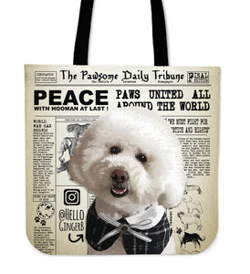 Custom Pawsome Daily Tribune Tote Bag