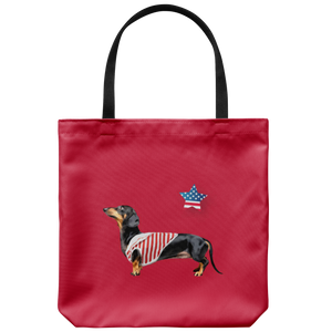 Black Dachshund - American Star Tote Bag