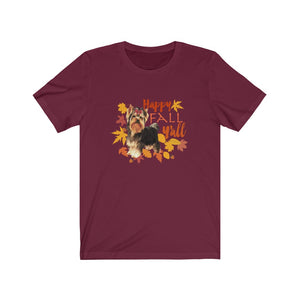 Amazon Order ID: # 114-4708481-7692215 Happy Fall Y'all Yorkie Yorkshire Terrier Short-Sleeve Unisex T-Shirt