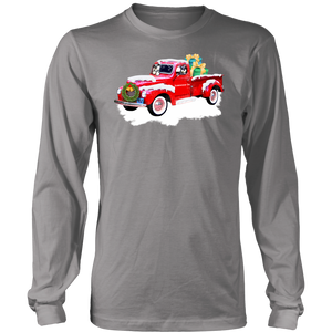 Schnauzer Red Truck Christmas  Unisex Long Sleeved or Short Sleeved T-Shirt