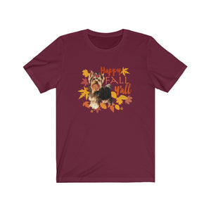Happy Fall Y'all Yorkie Yorkshire Terrier Short-Sleeve Unisex T-Shirt