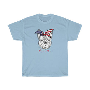 French Bulldog Mom Patriotic Bandana Unisex Heavy Cotton Tee