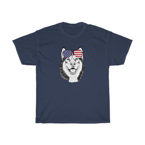 Husky Sunglasses Patriotic American Flag Unisex Heavy Cotton Tee - 4th July Independence Day