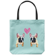 French Bulldog - Twin Frenchies Love - Tote Bag