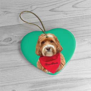 Custom Ceramic Ornaments - Add Red Bandana and Name of Pet! Sample: Reagandoodle