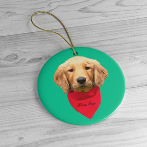 Custom Ceramic Ornaments - Add Red Bandana and Name of Pet! Sample : Penny Sage