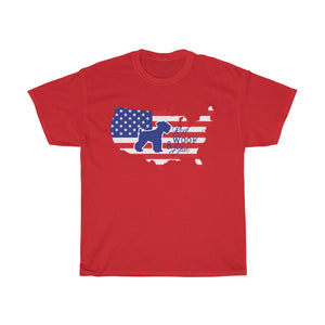 Unisex T-Shirt Patriotic Schnauzer Red Woof Blue - 4th July Independence Day