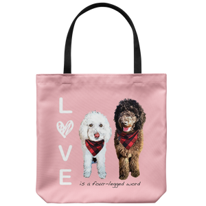 Custom Pet Portrait - LOVE is a four legged Word Tote Bag