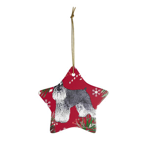 Miniature Schnauzer Christmas Ceramic Ornaments - Red Background