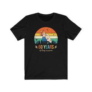 60 Years of Being Awesome, Pin Up Girl Shirt, Blonde Hair, 60th Birthday Gift For Women, Strong Woman Gift