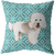 Cute White Poodle Geometric Style 1 Teal Pillow