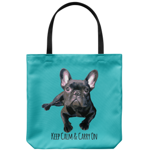 French Bulldog - Keep Calm & Carry On - Tote Bag
