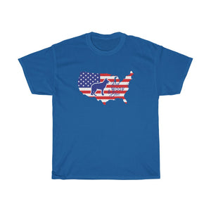 Patriotic German Shepherd GSD Unisex Heavy Cotton Tee - Patriotism Independence Day 4th July