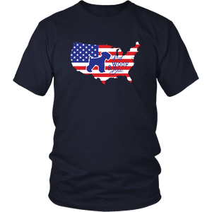 Patriotic Schnauzer Red Woof Blue Unisex T-Shirt - 4th July Independence Day - American Flag