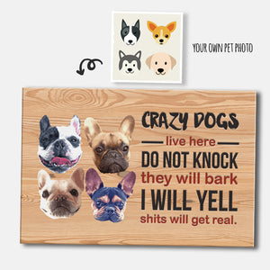 Custom Crazy Dogs Live Here Rectangular Canvas