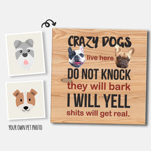Custom Crazy Dogs Live Here Square Canvas