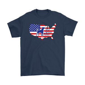 Unisex T-Shirt Patriotic Jack Russell Red Woof Blue - 4th July Independence Day - American FLag