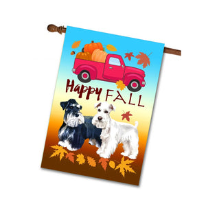 HAPPY FALL House Wall Flag Miniature Schnauzers - Red Truck Pumpkin Colorful Leaves