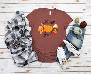 It's Fall Y'all T-Shirt, Fall Shirt, Autumn Shirt, Fall Pumpkin Spice Tshirt