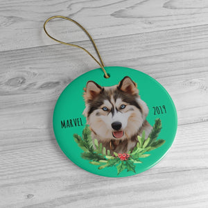 Custom Ornament - Christmas Wreath - With Name & Year