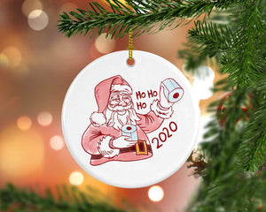 Santa Claus Toilet Paper Ceramic Ornaments, Christmas Ornament 2020, 2020 Memorabilia, Toilet Paper Ornament, Stocking Stuffer