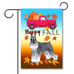 HAPPY FALL Garden Flag - Miniature Schnauzer Red Truck Pumpkin Colorful Leaves
