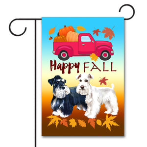 HAPPY FALL Garden Flag - Miniature Schnauzers Red Truck Pumpkin Colorful Leaves