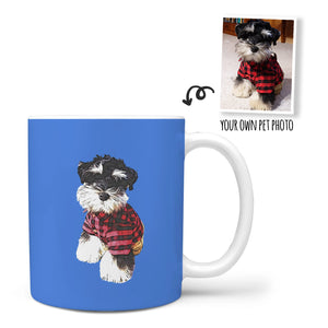 Custom Mug - Feature Your Own Pet On This Mug - Blue Background