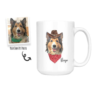 Custom Dog Mug - Cowboy Style with Hat and Bandanna  - Put Your own Dog