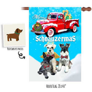 Custom Garden or House Wall Flag - Red Truck Merry Schnauzermas - To Feature Your Own Pets