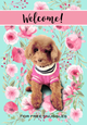 "Custom Flag Pink Floral on Teal Background 12.5"" x 18"" - To Feature Your Own Pets"