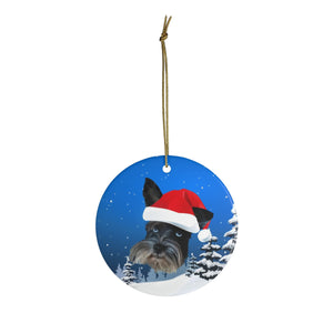Custom Ornament - We Put Santa Hat on Your Pup! Christmas Night Background
