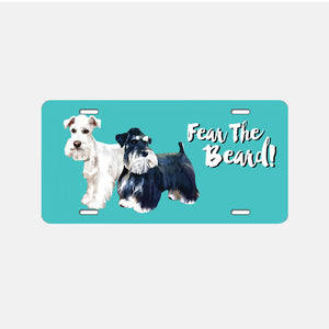 Custom Fear The Beard - Teal Background Color - License Plate