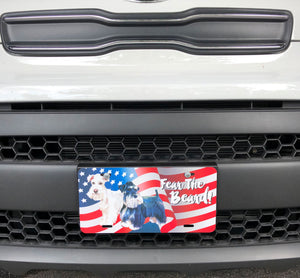 Custom Fear The Beard - Patriotic USA Flag - License Plate