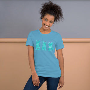 Three Easter Bunnies with Heart-shaped Tails on Blue Polkadots Short-Sleeve Unisex T-Shirt