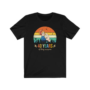 40 Years of Being Awesome, Pin Up Girl Shirt, Blonde Hair, 40th Birthday Gift For Women, Strong Woman Gift
