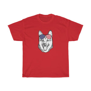 T-Shirt German Shepherd K9 Dog, Sunglasses, Patriotic American Flag  - 4th July Independence Day
