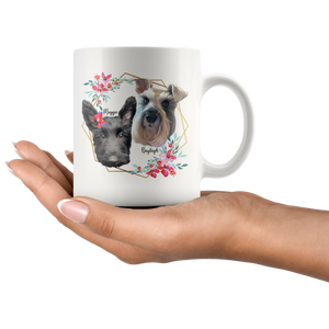 Custom Mug - Gold Hexagonal Borders With Floral Design, Perfect Custom Gift for Dog Lover