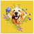 Golden Retriever Smiling Spring Flowers Square Canvas
