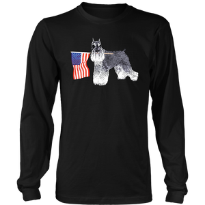 Miniature Schnauzer - 4th July American Flag - Long Sleeve District T-shirt