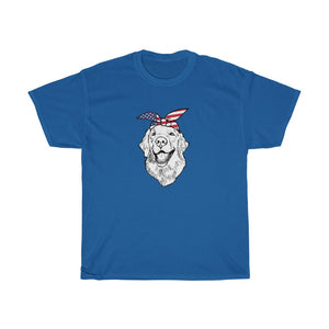 Unisex Tee, Golden Retriever Patriotic Bandana USA  American Flag Independence Day 4th July