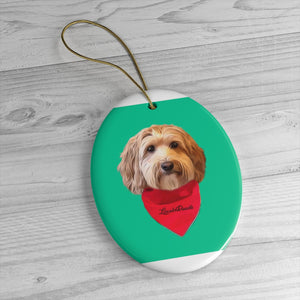 Custom Ceramic Ornaments - We put red bandana on your pet! Sample : LincolnDoodle