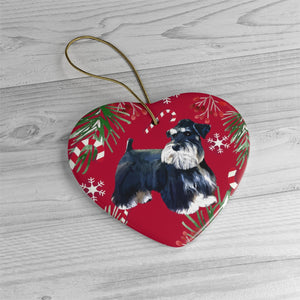Black & Silver Miniature Schnauzer Christmas Ceramic Ornaments - ES