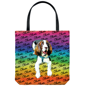 Custom Pet Portrait Tote Bag - Pet's Names Background