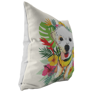 Maltese - Tropical Style Pillow