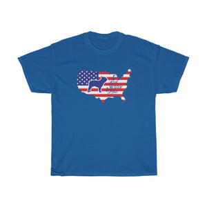Unisex T-Shirt Patriotic French Bulldog, Red Woof Blue  - Frenchie Patriotism Independence Day 4th July American Flag