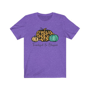 Thankful & Blessed, 3 Pumpkins Leopard Skin, Fall Shirt, Autumn Shirt, Thanksgiving, Pumpkin Shirt